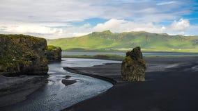 Landscape of Dyrholaey cape, volcanic sand beach South Iceland Royalty Free Stock Photos