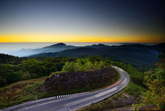 Landscape of early morning at Doi Inthanon veiwpoint Royalty Free Stock Photo
