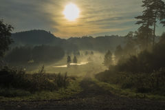 Landscape, an early morning in fog and sunrise Royalty Free Stock Images