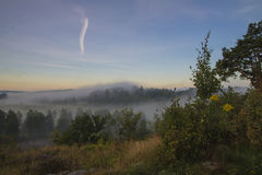 Landscape, an early morning in fog and sunrise Stock Image