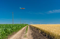 Landscape with earth road and landing aircraft over agricultural fields Royalty Free Stock Image