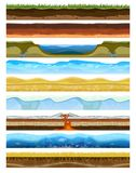 Landscape earthy slice soil section mountains with water geological land underground nature cross land ground vector. Landscape earthy slice soil section Royalty Free Stock Photography