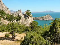 Landscape eastern Crimea. View of the Cape Kapchik and the Cape Meganom in the eastern Crimea, the Black Sea stock photography