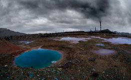 Landscape with ecology pollution Royalty Free Stock Photo