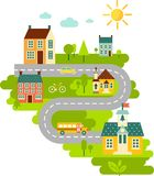Landscape with education concept. Landscape with houses, schoolbus, school building, church and cityscape in flat style Royalty Free Stock Images