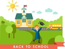 Landscape with education concept. Landscape with student in graduation gown and mortarboard, schoolbus, school building in flat style Royalty Free Stock Photo