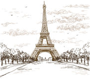 Landscape with Eiffel tower in brown colors on white background. Landscape with Eiffel tower in black and white colors on grey background vector hand drawing Royalty Free Stock Photo