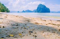 Landscape of El Nido. Sandy Beach with Huge Rock, Palawan island. Philippines Stock Image
