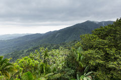Landscape at El Yunque National Rain Forest, Puerto Rico, United States. Landscape image of the mountains and forest trees found at El Yunque National Rain Royalty Free Stock Image