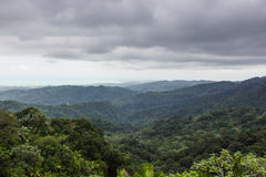 Landscape from El Yunque National Rainforest in Puerto Rico, United States of America. Landscape of mountains and trees taken on a cloudy day from the El Yunque Royalty Free Stock Images