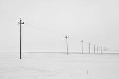 Electric line castelluccio. Landscape with electric line castelluccio in the snow royalty free stock photography