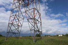 Landscape with electric pylon from france royalty free stock image