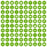 100 landscape element icons hexagon green. 100 landscape element icons set in green hexagon isolated vector illustration Stock Photography
