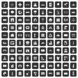 100 landscape element icons set black. 100 landscape element icons set in black color isolated vector illustration Stock Photo