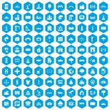 100 landscape element icons set blue. 100 landscape element icons set in blue hexagon isolated vector illustration Stock Illustration