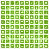 100 landscape element icons set grunge green. 100 landscape element icons set in grunge style green color isolated on white background vector illustration Royalty Free Stock Photography