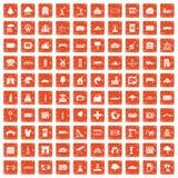 100 landscape element icons set grunge orange. 100 landscape element icons set in grunge style orange color isolated on white background vector illustration Royalty Free Stock Photo