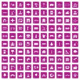 100 landscape element icons set grunge pink. 100 landscape element icons set in grunge style pink color isolated on white background vector illustration Stock Photo