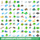 100 landscape element icons set, isometric style. 100 landscape element icons set in isometric 3d style for any design vector illustration Royalty Free Stock Photos