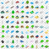 100 landscape element icons set, isometric style. 100 landscape element icons set in isometric 3d style for any design vector illustration Stock Photos