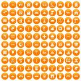 100 landscape element icons set orange. 100 landscape element icons set in orange circle isolated on white vector illustration Stock Photography