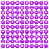 100 landscape element icons set purple. 100 landscape element icons set in purple circle isolated on white vector illustration Stock Images