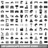 100 landscape element icons set in simple style Royalty Free Stock Photo