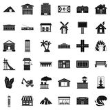 Landscape element icons set, simple style. Landscape element icons set. Simple style of 36 landscape element vector icons for web isolated on white background Stock Images