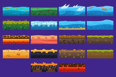 Landscape elements sett, ground collection, surfaces for computer games vector Illustrations. Web design Royalty Free Stock Photo