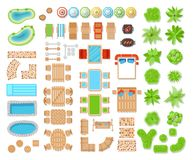 Landscape elements top view. Elements of composition viewing a space of living area, landscape design and architecture. Vector flat style cartoon illustration stock illustration