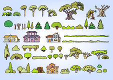 Landscape elements vector set.Hand drawn  sketchy trees, Royalty Free Stock Photos