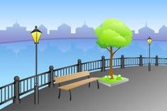 Landscape embankment city summer day river bench lamp illustration Royalty Free Stock Photo