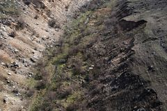 Landscape of empty deep earth cliff from top stock image