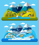 Landscape and environment. Vector illustration of landscape and environment icons Stock Images
