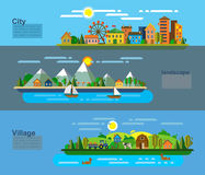 Landscape and environment. Vector illustration of landscape and environment icons Stock Photography