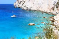 Landscape of Erimitis beach Paxos Ionian islands Greece stock photography