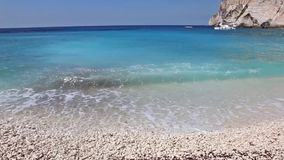 Landscape of Erimitis beach Paxos Ionian islands Greece. Greek summer destination stock video