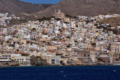 Landscape of Ermoupoli town, Syros, Cyclades Islands Stock Images