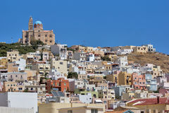 Landscape of Ermoupoli town, Syros, Cyclades Islands Stock Photo