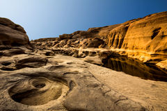 Landscape of erosion at Khong river Royalty Free Stock Images