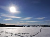 Landscape in the Erzgebirge in winter royalty free stock photo