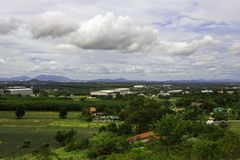 Landscape of estate house and factory in countryside of Rayong T stock images