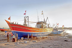 Indian Boatyard in Gujarat Sundown Royalty Free Stock Photos