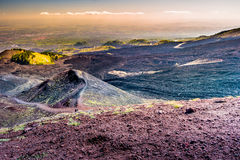 Landscape of Etna volcano, Sicily, Italy. Deserted martian-like surface. Beautiful Travel photography Stock Images