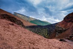 Landscape of Etna volcano, Sicily, Italy. Deserted martian-like surface royalty free stock images