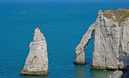 Landscape of Etretat and English Channel Royalty Free Stock Photography