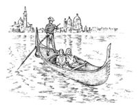 Landscape in European. Characters in the gondola. Engraved hand drawn in old sketch and vintage style. Italian vector illustration
