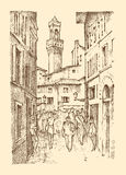 Landscape in European town Florence in Italy. engraved hand drawn in old sketch and vintage style. historical Royalty Free Stock Image