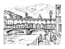 Landscape in European town Florence in Italy. engraved hand drawn in old sketch and vintage style. historical Royalty Free Stock Photos