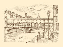 Landscape in European town Florence in Italy. engraved hand drawn in old sketch and vintage style. historical. Architecture with buildings, perspective view Stock Image